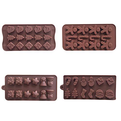 R-WEICHONG - Set di 4 stampi per cioccolatini natalizi, a forma di pupazzo di neve, calzini, bastoncino di zucchero, stelle, campana, testa di Babbo Natale, albero di Natale