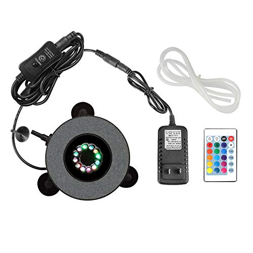 Heneng Aquarium Air Stone RGB LED Light 16 Color Bubble Diffuser Disk 4 Dynamic Lights for Fish Tank Decorations Remote Controlled