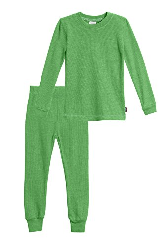 City Threads Little Boys Thermal Underwear Set Perfect for Sensitive Skin SPD Sensory Friendly Base Layer Thermal Wear Cotton Ski Clothing for Kids Comfortable Ultra Soft, Elf Green- 2T