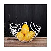 フルーツボウル ノルディックフルーツバスケットワイヤー装飾金属製収納バスケットブラックディスプレイボウルフルーツのテーブルダイニングの装飾 フルーツバスケットボウル (Color : White)