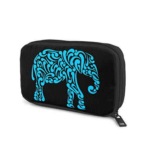 Colorful Indian Elephant Removable Cable Organizer Bag Travel Office Storage Bag