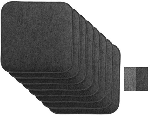 Brandsseller Wende-Sitzkissen Filz 8er Vorteilspack zweifarig Eckig Stuhlkissen Sitzauflage Gepolstert - 35 x 35 x 1,5 cm Anthrazit/Grau
