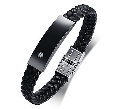 VNOX Herren Edelstahl schwarz geflochten Leder Kristall personalisierte maßgeschneiderte Manschette Armband für Freund Papa Sohn Geschenk,kostenlose Gravur