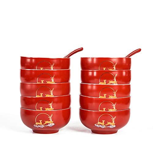 WGG 10 Conjuntos de Cuencos Rojos para recién Casados, Cajas de Regalo para Suministros de Boda o Uso Diario en casa para recién Casados, recién Casados, Amigos