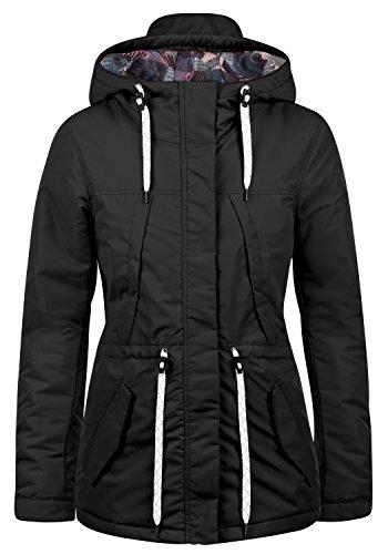 DESIRES Frida Damen Übergangsmantel Parka Lange Jacke Mit Kapuze, Größe:L, Farbe:Black (9000)