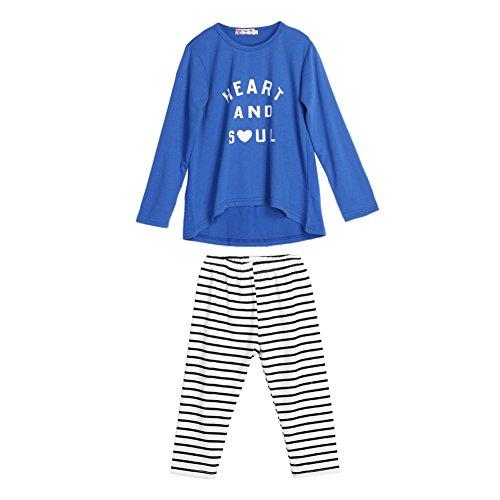 Conjunto de roupas para bebês meninas da Diamondo, camiseta estampada com letras + calça listrada, As Show in the Picture, 120