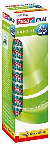 tesafilm eco & clear - Umweltfreundliches Klebeband - Klebestark, lösungsmittelfrei und alterungsbeständig - 10 m x 15 mm - 10er Pack, unsichtbar, 10m x 15mm, 57070-00000-00