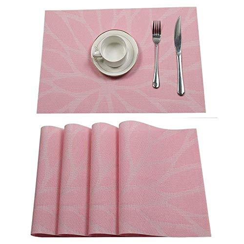 Pauwer Platzset 6er Set rutschfest Abwaschbar Tischset PVC Abgrifffeste Hitzebeständig Platzdeckchen für Zuhause Restaurant Speisetisch(6er Set, Rosa)