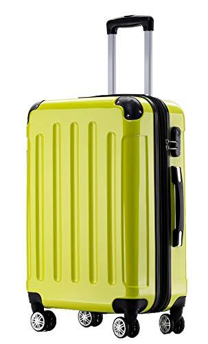 BEIBYE Hartschalen Koffer Trolley Rollkoffer Reisekoffer 4 Zwillingsrollen Polycabonat (Grün, Handgepäck 55cm-40L)