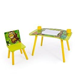 Homfa Kindersitzgruppe Kindertisch Kinderstuhl Sitzgruppe Kinderm/öbel aus 1x Tisch und 2 x St/ühle Holz Gr/ün