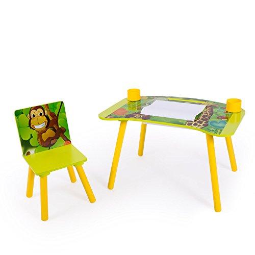 Homestyle4u 1131, kinderzitgroep junggel, kindermeubelset van 1 kindertafel 1 stoel, hout, groen