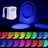 Waymeduo LED-Toilettenlicht, Bewegungsaktiviertes WC-Nachtlicht, 16 Farbwechsel, wiederaufladbares WC-Nachtlicht, Toilettensitz-Schüssel