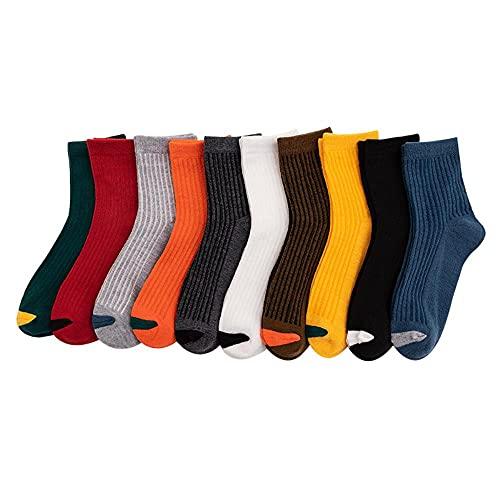 JJJEE 10 pares de calcetines Medias Mercas Masculinas Otoño e Invierno Absorbente Absorbente Respirador Desodorante Hombres Cilindstones de Cylindstones Día Hombres Calcetines de Hombre Tendencia