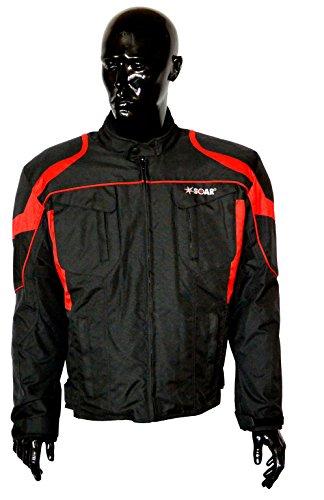 KED SOAR Motorradjacke Taifun black red, matt, Größe 3XL, sportlich-elegante Jacke aus Teslan & Cordur