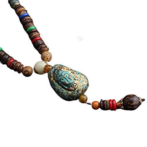 Collar Budista Largo con Cuentas de Madera | Etnico Buda | Mujer | (Buda)