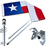 Vedouci American 3x5 Texas State Flag Kit with Nylon Flag & Aluminum Pole & Metal Base, Embroidered Stars, Fade Resistant Commercial Grade US Flag of TX