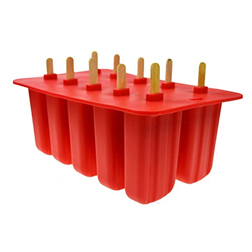 TOOGOO Silikagel-Eiscreme-Form-Eis am Stiel-Form Eis-Behaelter Puck Eis am Stiel-Form-Eis 10 mit Silikonformqualitaet Rot