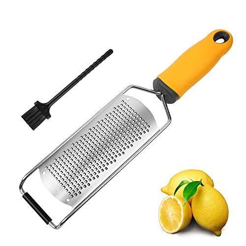 Pro Zester Grater, Lemon Zester, Parmesan, Ginger, Garlic, Chocolate, With Razor-Sharp Stainless Steel Blade, Protective Cover and Cleaning brush, Dishwasher Safe, by NSpring