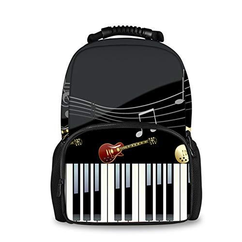 fhdc Rugzak 3D Piano Keyboard Print School Tassen Jeugd Meisjes Canvas Book Bag Grote Capaciteit School Schouder Rugzak