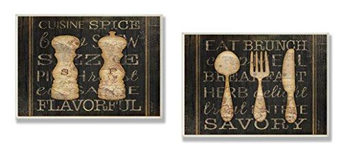 stupell woonaccessoires, zout, peper en gebruiksvoorwerpen lettertekens Duo keukenplaket, 10 x 15 x 0,5, gemaakt in de VS