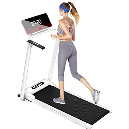 New Folding Treadmill, Portable Installation-Free Under Desk Electric Treadmill LCD Display, Fitness Treadpad Flat Treadmill Walking Jogging Machine for Home, Office, Gym (White)