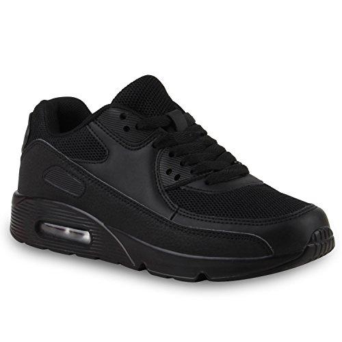 stiefelparadies Damen Sport Lack Sneakers Schnürer Sneaker Low Lauf Runners Neon Leder-Optik CamouflageGlitzer Schuhe 110745 Schwarz 41 Flandell