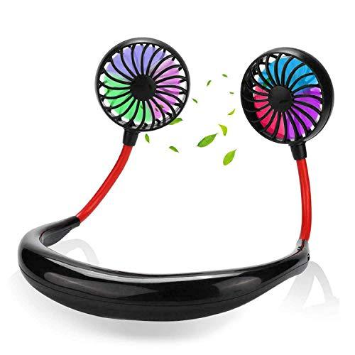 Ventilador de cuello portátil, recargable por USB con 3 velocidades ajustable, ventilador con banda para el cuello con luces LED, color negro
