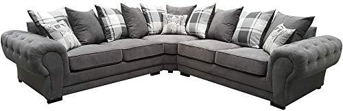 Corner Sofa Dorado Fabric Grey Brown Cream Designer Scatter Cushions Living Room Furniture (Grey)