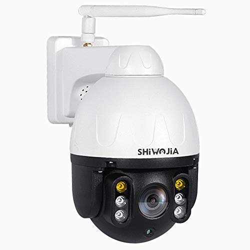 SHIWOJIA PTZ IP Dome Cámara de vigilancia exterior 1080P HD WiFi cámara giratoria con micrófono y altavoz incorporados detector de movimiento alarma (blanco y negro)