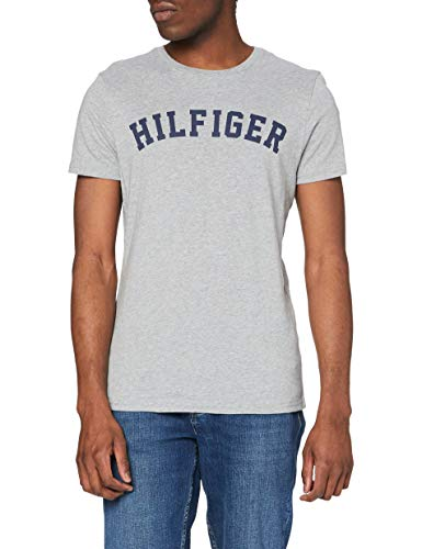 Tommy Hilfiger Logo Camiseta de Cuello Redondo,Perfecta para El Tiempo Libre, Gris (Grey Heather), S para Hombre