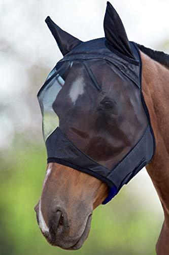 Harrison Howard CareMaster Pro Fliegenmaske UV-Schutz mit Ohrenschutz Schwarz Kaltblut (XL)