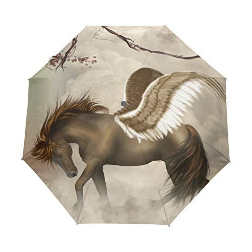 Kleiner Reiseschirm Winddicht im Freien Regen Sonne UV Auto Compact 3-Fach Regenschirm Abdeckung - Brauner Einhorn-Pegasus im Himmel mit Zweigen