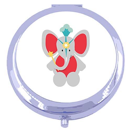 Circus Elephant [CIRCJS] compact pocket mirror - silver round circle shape