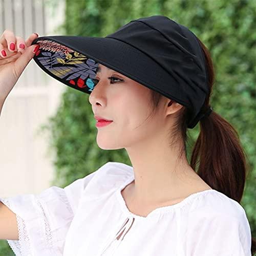 Shihuawu Verano Playa Sombrero para el Sol Cabeza Grande Sombrero Ancho para el Sol Sombrero para Exteriores Femenino protección solar-negro-G1015