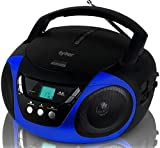 Tyler Portable CD Player Boombox Radio AM/FM Top Loading AC & Battery Compatible Aux Input & 3.5mm Headphone Jack Small Lightweight Compact Boom Box Home Stereo Speaker Carrying Handle Kids Room Blue