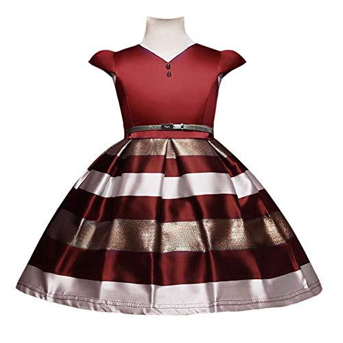 QINJLI meisjes bedrukte kids rok gestreept prinses jurken korte mouwen Halloween Christmas Party kostuum 140cm B