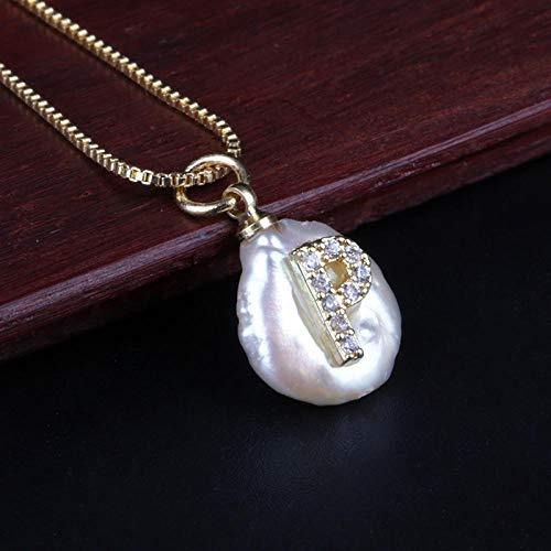 zyh1229 Gouden Ketting Initialen Parel Hanger Ketting Gepersonaliseerde Naam Sieraden Geschenken voor Vrouwelijke Meisjes