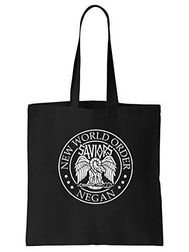clothinx TWD - Negan New World Order | Neue Welt Ordnung - Horror Serien Design Stoff-Tasche Schwarz