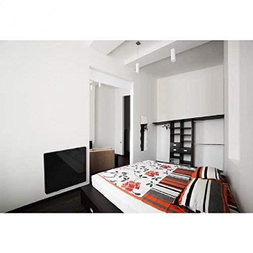 Cayenne radiator met hoge warmte-isolatie, gietijzer, glas, LCD, 1000 W zwart