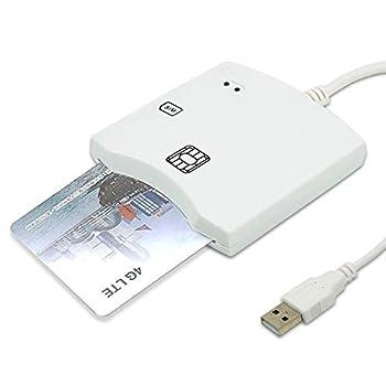EMV SIM eID Smart Chip Card Reader Writer Programmer #N68 DOD Military USB Common Access CAC Smart Card Reader + SDK Kit Compatible Windows  White