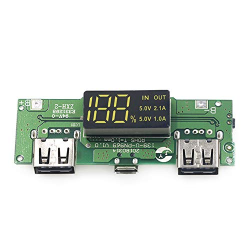 YITAQI Charging Board,Power Bank Micro/Type-C USB Circuit Protection Charging Module Dual USB Lithium Battery Charger 18650 Charging(5V 1A 2A)