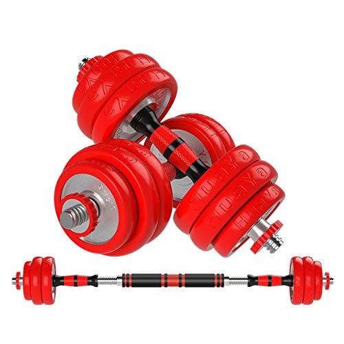 Aveo - Juego de 2 mancuernas de fitness para hombres, juego de mancuernas ajustable para el hogar, equipo de fitness, mancuernas (color: rojo, tamaño: 20 kg (10 kg x 2)
