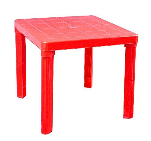 Vetrineinrete Tavolino in plastica colorato per Bambini Tavolo da Gioco per Giardino casa cameretta 45x50 cm Giochi e Giocattoli (Rosso) P39