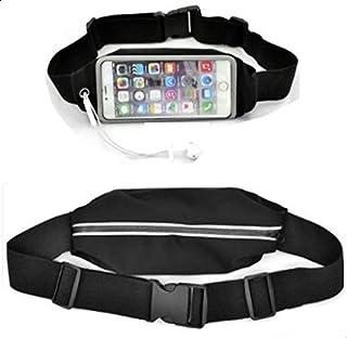 حافظة رياضية للركض مع حزام من الوسط لهواتف ايفون 6 - اسود