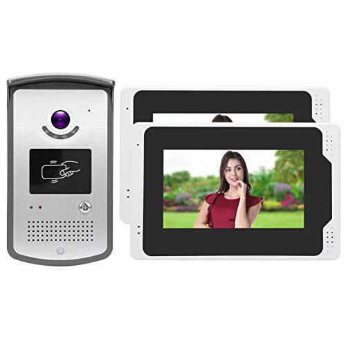 sistema de intercomunicación con timbre de videoportero,TFT de 7 pulgadas,2 monitores, WiFi 1080P, intercomunicador visible,sistema de entrada de visión nocturna a prueba (EU PLUG)
