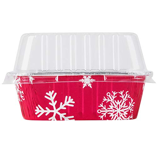 Disposable Aluminum Holiday 1 lb. Mini Loaf Pans with Clear Snap on Lid