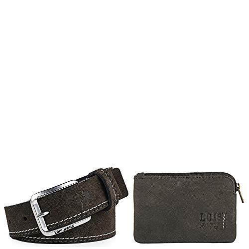Lois - Conjunto de Cartera Monedero pequeña con protección RFID y cinturón de Piel para Hombre, 999104, Color Marron