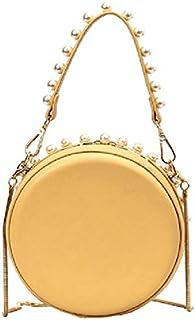 SODIAL Summer Small Fresh New Wild Lady Shoulder Bag Foreign Spirit Messenger Bag Evening Dress Pearl Round Wallet Handbag Yellow