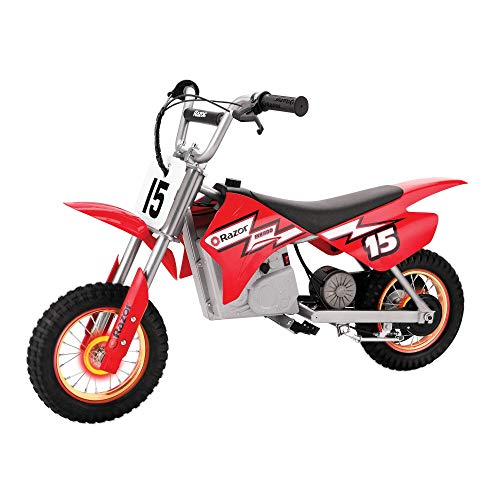 powerful Razor MX400 Dirt Rocket Kids riding a 24V electric toy motocross bike dirt bike, top speed 14mph, red