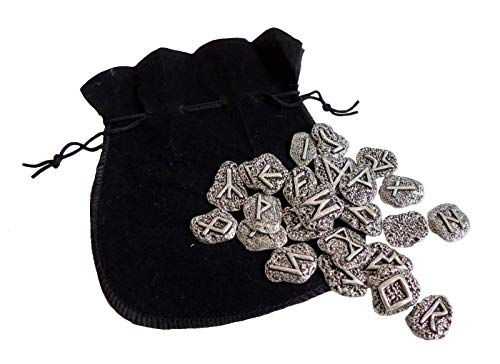 1000 Badges Set of 25 Authentic Cornish Rune Stones (Elder Futhark) Made in Solid Pewter - Hand Made in Cornwall, England in Solid Pewter